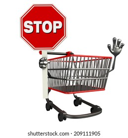 The cartoon character of trolley with stop sign