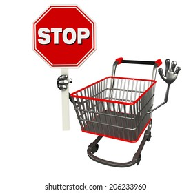 The cartoon character of trolly with stop sign