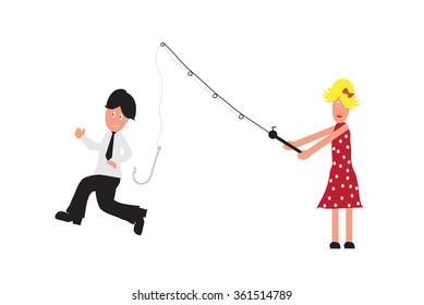 Cartoon character woman fishing husband as concept for single woman. Isolated on white background
