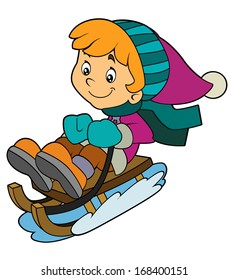 Cartoon child sliding down on the sleigh - activity - isolated - illustration for the children