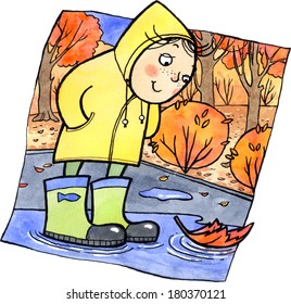 Cartoon child in yellow coat and green boots standing in the middle of a puddle. Watercolor and ink illustration.