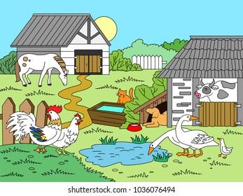 Cartoon children coloring raster illustration. Color image.