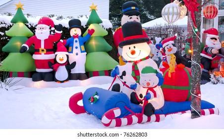 Cartoon Christmas characters celebrating the festive season.