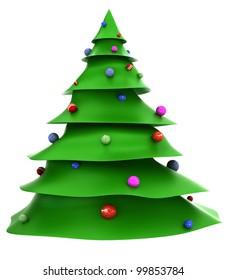 Cartoon christmas tree with decorations