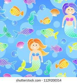 Cartoon colorful underwater seamless pattern with mermaids and fishes for children.