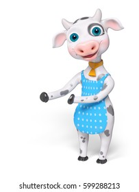 Cartoon cow showing or pointing something with hands isolated 3d rendering