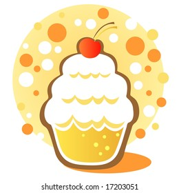 Cartoon cupcake with cherry on a white background.
