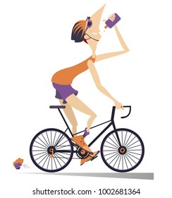 Cartoon cyclist man in helmet rides a bike and drinks beverage isolated on white illustration