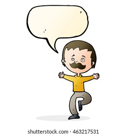 cartoon dancing man with mustache with speech bubble