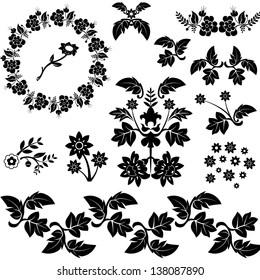 cartoon decorative floral design elements