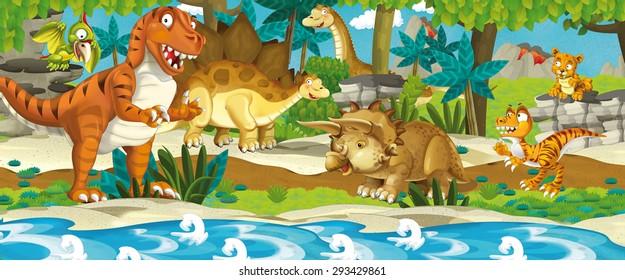 Cartoon dinosaur land - illustration for the children