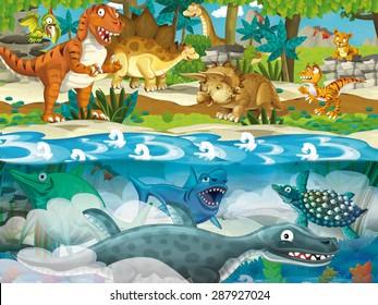 Cartoon dinosaur land and sea - illustration for the children