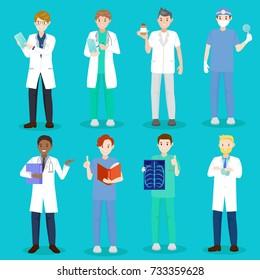 cartoon doctor and nurse on blue background