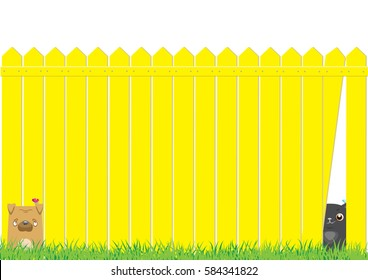 Cartoon dog and cat on the yellow fence. Cute pets background.