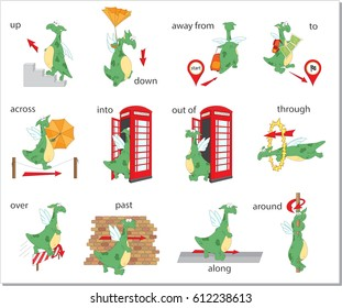 Cartoon dragon prepositions of movement. Up, down, away from, to, across, into, out of, through, over, past, along, around. English grammar in pictures