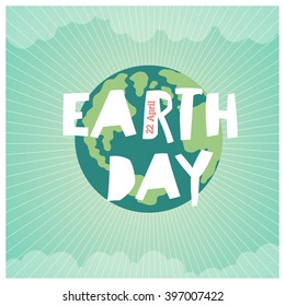 """Cartoon Earth Illustration. Planet smile and hold banner with """"Save Me"""" words. Vintage Earth Day Poster. Rays, clouds, sky."""