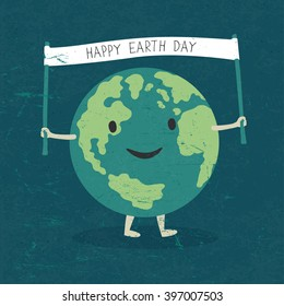 "Cartoon Earth Illustration. Planet smile and hold banner with ""Happy Earth Day"" words. On old paper texture."