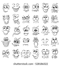 Cartoon face Emotion set. Various facial expressions in doodle style isolated on white.