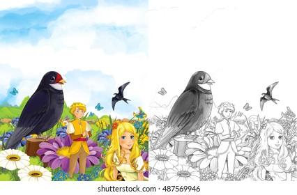 Cartoon Fairy Tale Scene With Elf Royal Couple On The Flower And Cuckoo Sitting Near Them