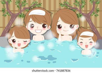 cartoon family smile happily with hot spring