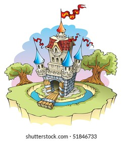 Cartoon fantasy castle, surrounded by water moat, raster from vector illustration