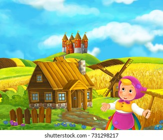 Cartoon farm scene of traditional village with castle in the background - farmer standing resting and looking - illustration for children