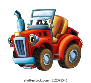 Cartoon farm tractor- isolated - illustration for the children