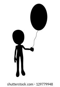 cartoon figure with Easter egg balloon.