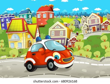 Cartoon fire brigade car smiling and looking in the parking lot - illustration for children