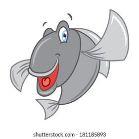 cartoon fish isolated on white background
