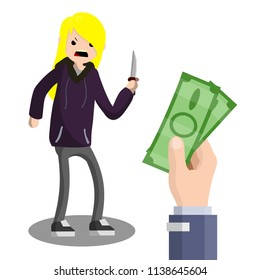 Cartoon flat illustration - an evil blond girl in a sweatshirt threatens a man with a knife. woman robber and the big hand with the greenbacks. the problem of urban security. bandit on the street.