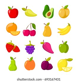 Cartoon fruits clipart collection. Fruit icons isolated on white background