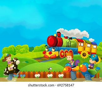 cartoon funfair - amusement park with steam train  - illustration for children
