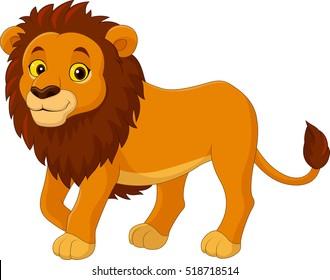 Cartoon funny Lion walking