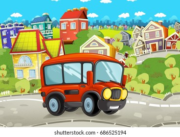 cartoon funny looking bus driving through the city - illustration for children