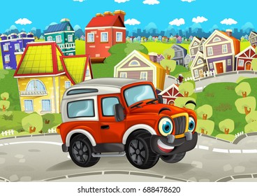cartoon funny looking off road car driving through the city and smiling - illustration for children