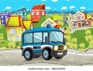 cartoon funny looking cartoon police bus driving through the city - illustration for children