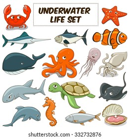 Cartoon funny underwater life animals colorful set raster illustration