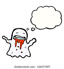 cartoon ghost with thought bubble