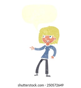 cartoon girl pointing with speech bubble