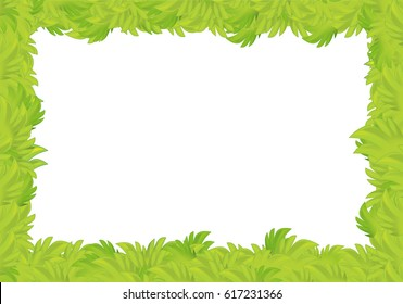 cartoon grass frame for different usage with space for text