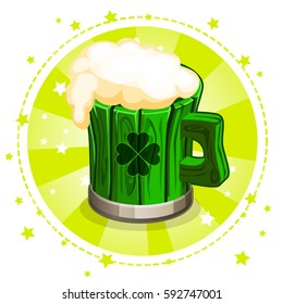 Cartoon green wooden beer mug, set greeting card for St. Patrick's Day, similar JPEG copy