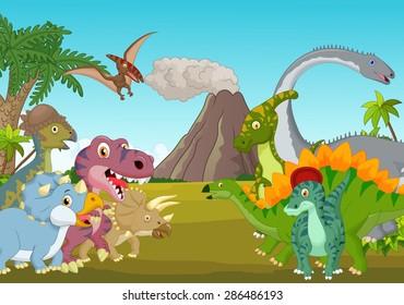 Cartoon group of dinosaur with mountain