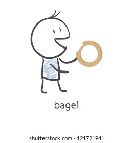 Cartoon guy eats a bagel