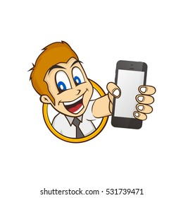 cartoon guy holding phone