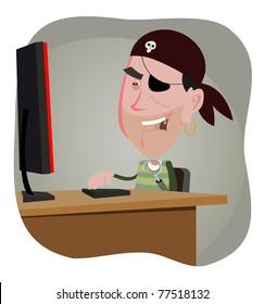 Cartoon Hacker/ Illustration of a cartoon computer pirate hacker