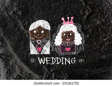 Cartoon hand drawn wedding couple wedding idea design
