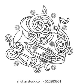 Cartoon hand-drawn doodles Musical illustration. sketch background with trumpet and abstract objects