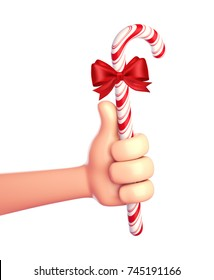 Cartoon hands with Christmas Candy Canes on a white background. 3d render