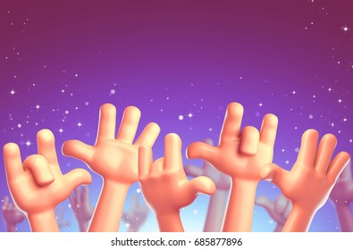 Cartoon hands at a party. Disney cartoon. 3d render